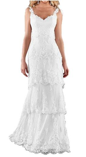 MILANO BRIDE Romantic Beach Wedding Dress Sweetheart Backless Sheath Floral Lace review