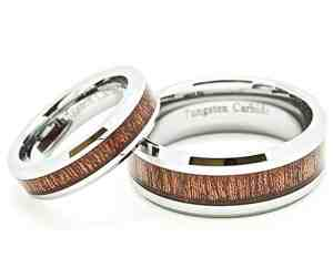 Matching 5mm & 8mm Tungsten Wedding Rings with Wood Grain Inlay