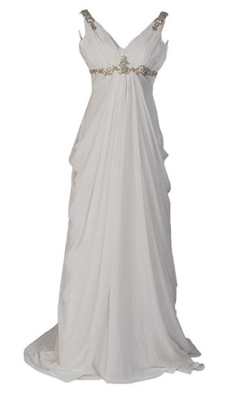 Remedios Sleeveless V Neck Chiffon Empire Wedding Dress with Rhinestone