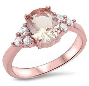 Rose Gold Plated Silver Simulated Morganite & Cubic Zirconia Ring