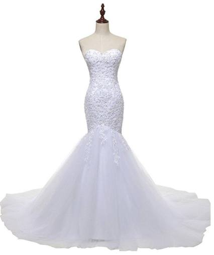 Solovedress Women's Tulle Lace Wedding Dress 2016 Mermaid Sweetheart Bridal Gown