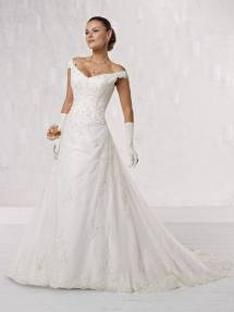 off the shoulder neckline wedding