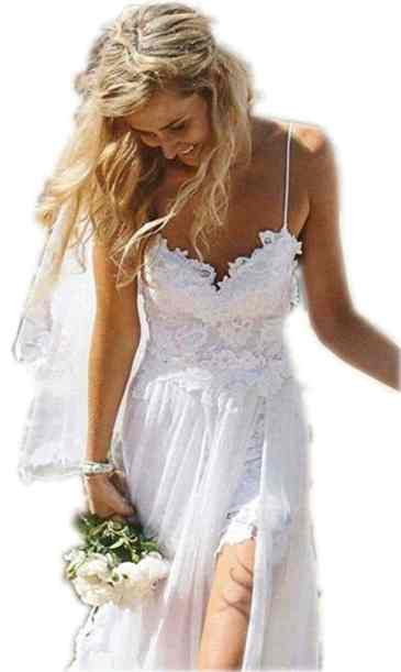 Charmingbridal Spaghetti Backless White Lace Beach Wedding Dresses