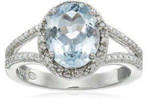 created aquamarine gemstone with diamond halo