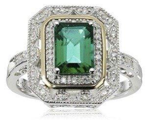 emerald and diamond art deco ring