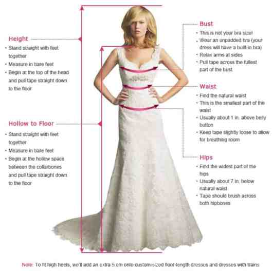 wedding dress custom measurements