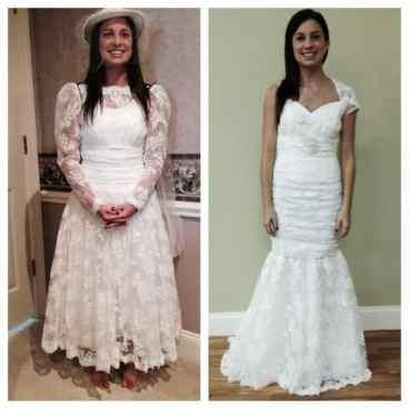 wedding dress frill removal