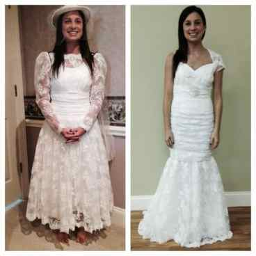 wedding dress frill removal