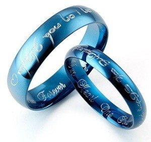 blue titanium couples promise ring