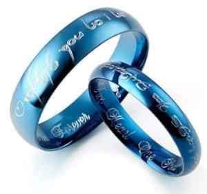 blue titanium couples promise ring