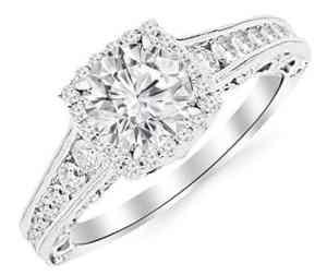 brilliant round cut diamond halo vintage