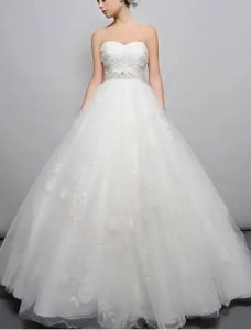 Beaded Sweetheart Cut with Tulle Skirt