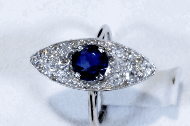 white and blue sapphire ring