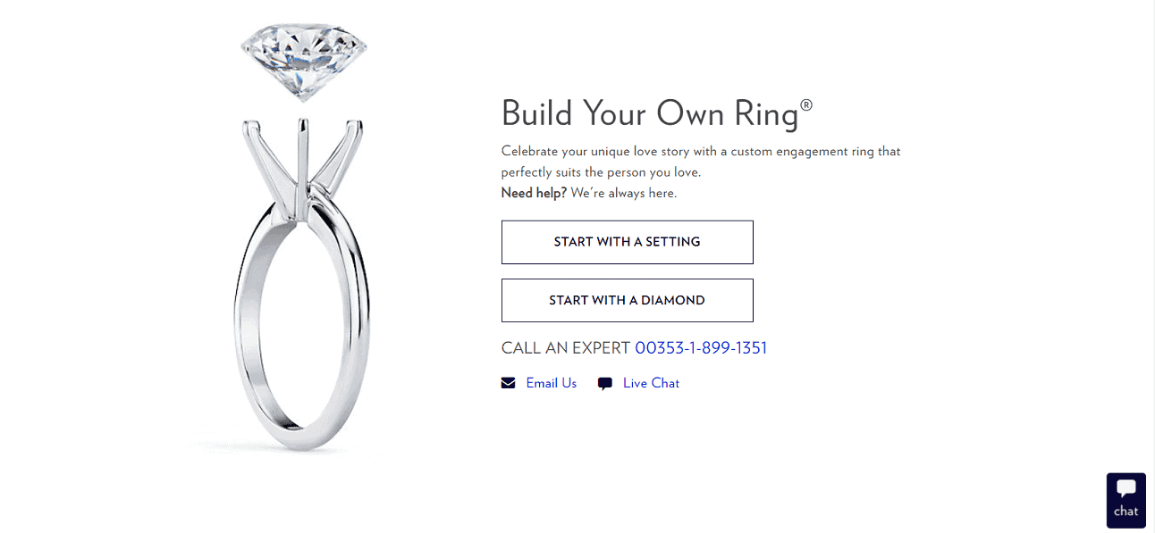 Blue Nile ring customization tool on the vendor's website