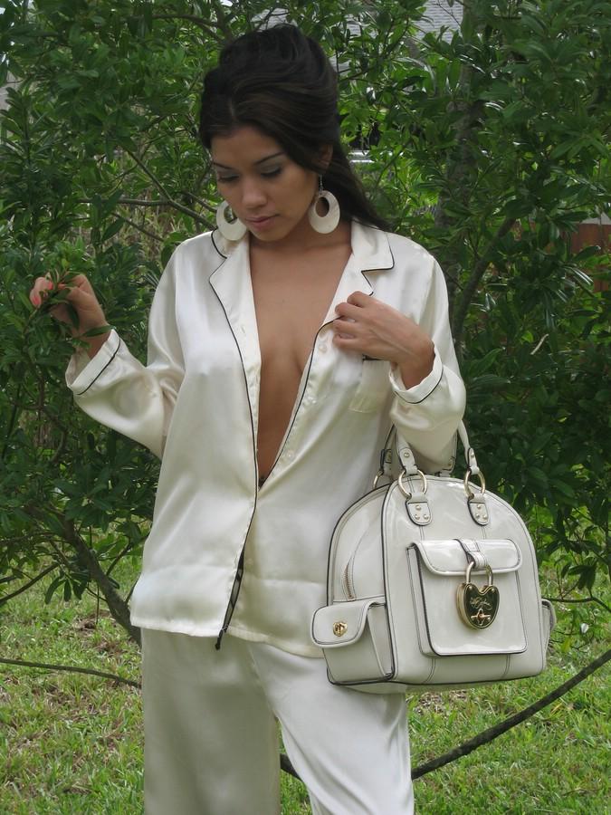 Sexy in silk pajamas outside with my handbag