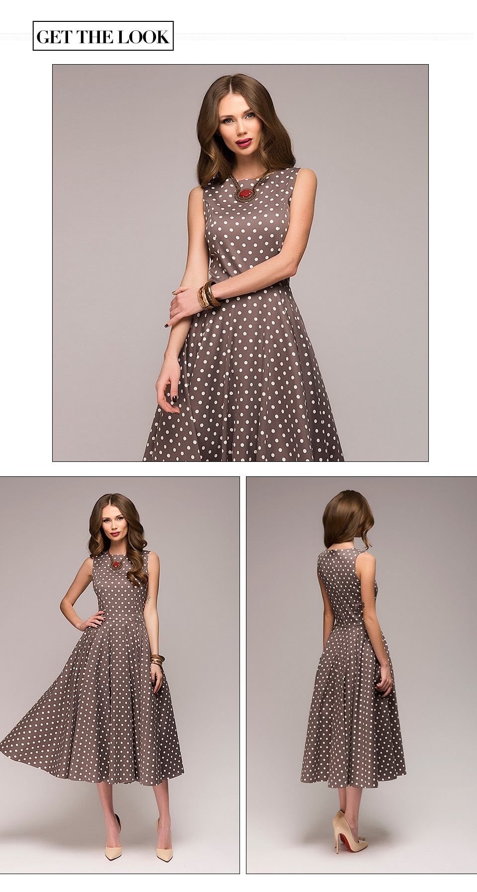 Vintage O-Neck Women's Midi Dress