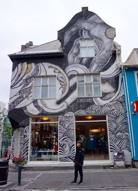Building covered with art