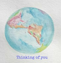 """""""Thinking of you"""" World globe watercolor painting by S. Macera. Lovingcolor.net"""