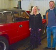 Gambordella and Church with a 1969 Reliant Scimitar in their Hackney workshop. The car has a non-rusting fibreglass body and V6 Ford engine