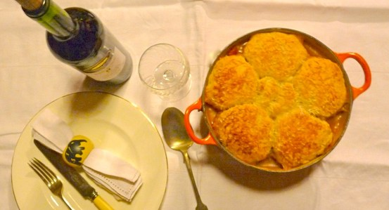 Cobbler's hotpot (vegetable casserole) with cheese-and-herb scone topping. It's work but worth the effort