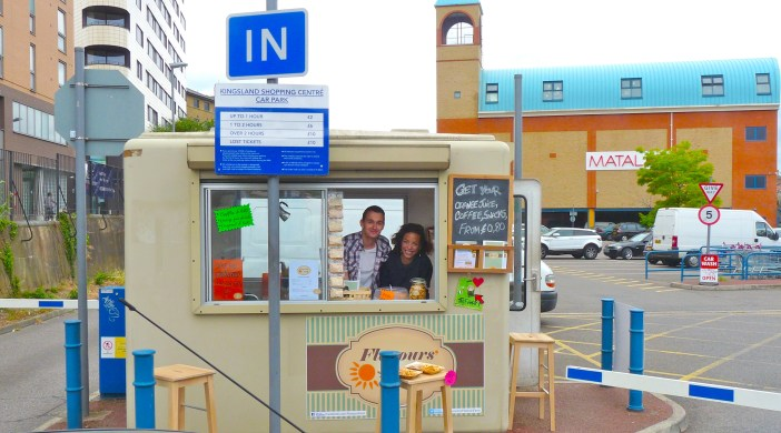 Antonio and Taryn staff of popup coffee-snack bar in Kingsland Shopping Centre car park July 2013 © david.altheer@gmail.com