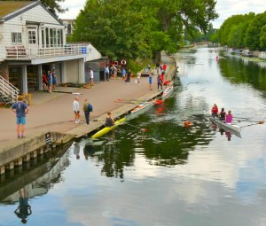 Lea Rowing Club in Clapton and on water Jennie Brotherstone, nearest, Katherine Berlie and Louise Etheridge (purple top) near club's Springhill Boathouse Hackney N © david.altheer@gmail.com 280614