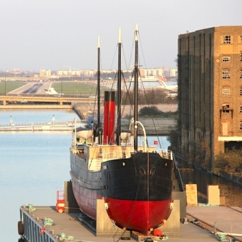 SS Robin rests in dry-dock in Silvertown E16