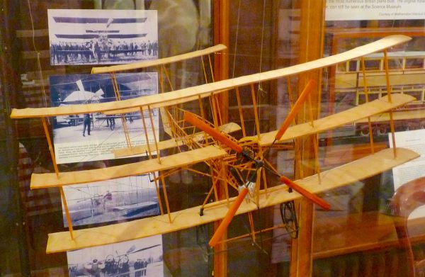 Model of triplane designed by AV Roe Walthamstow Marshes E17 9NH first UK-flight 1909 pioneer Vestry House, Walthamstow photo ex 130216 © DavidAltheer [at] gmail.com