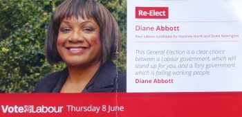 Difly0517e: DianeAbbott election flyer Dalston Hackney London E8 © david.altheer[ a t ] gmail.com