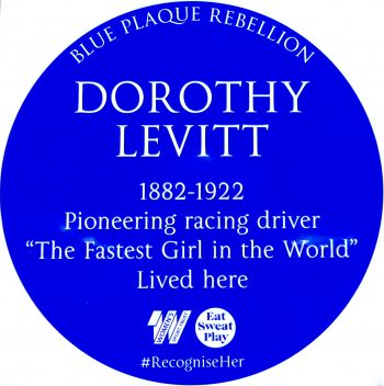 Levitt badge for woman racing driver Blue Plaque Rebellion Dalston 210617 © David Altheer