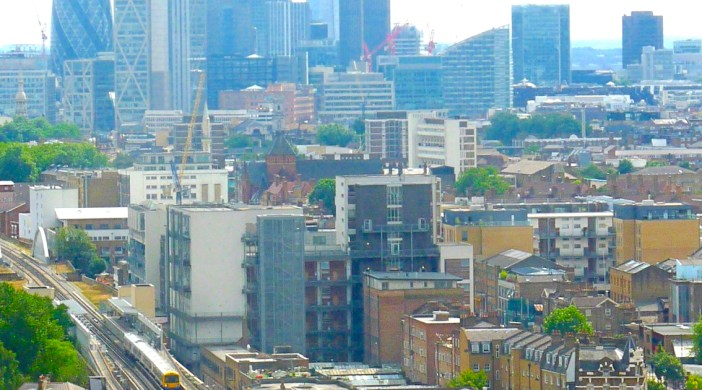 "CityShoreditch©DA: East London Line (""hipster line"") bypasses City (& Shard in S Lon) as it goes N to Dalston Junction 26 July 2013 © david.altheer@gmail.com"