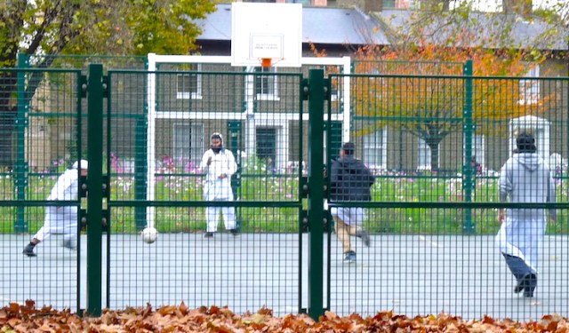 Muslimboys14: Muslim boys play football on a reserved court at London Fields Hackney E8 131114 © david.altheer@gmial,com