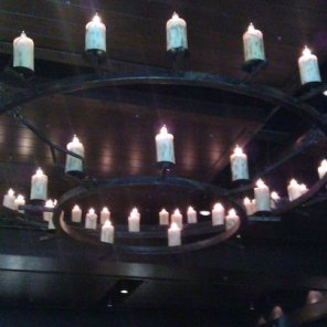 Chandelier at barbecue restaurant