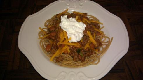 Spaghetti with Turkey Chili