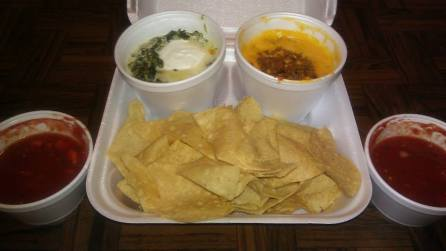 Chips with Queso & Spinach Dip