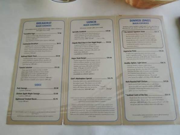 Train food menu