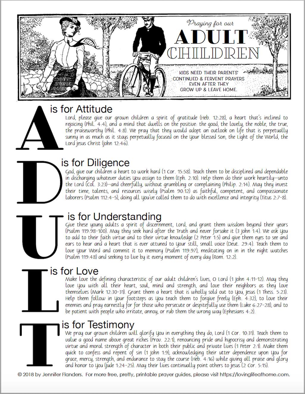 Praying For Adult Children Free Printable