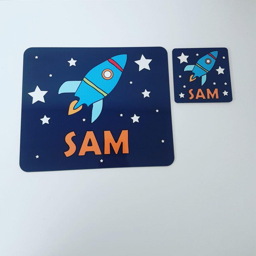 Personalised rocket design placemat gift set
