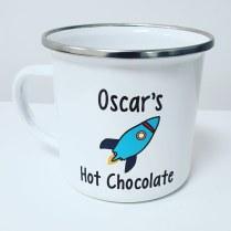 Personalised Rocket Design Enamel Mug