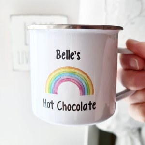 Enamel mug with rainbow design