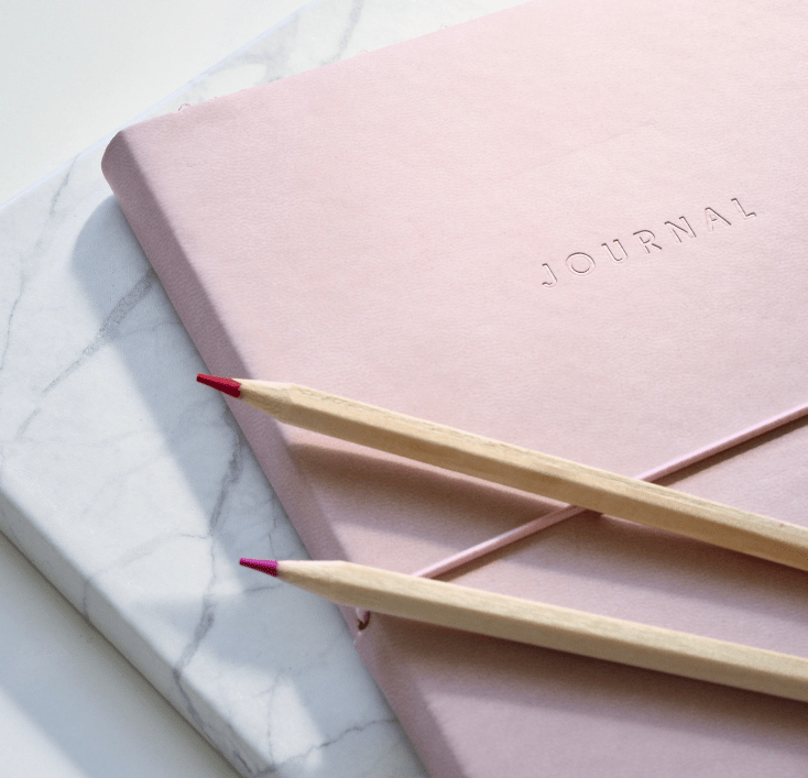 Pink journal for goal setting