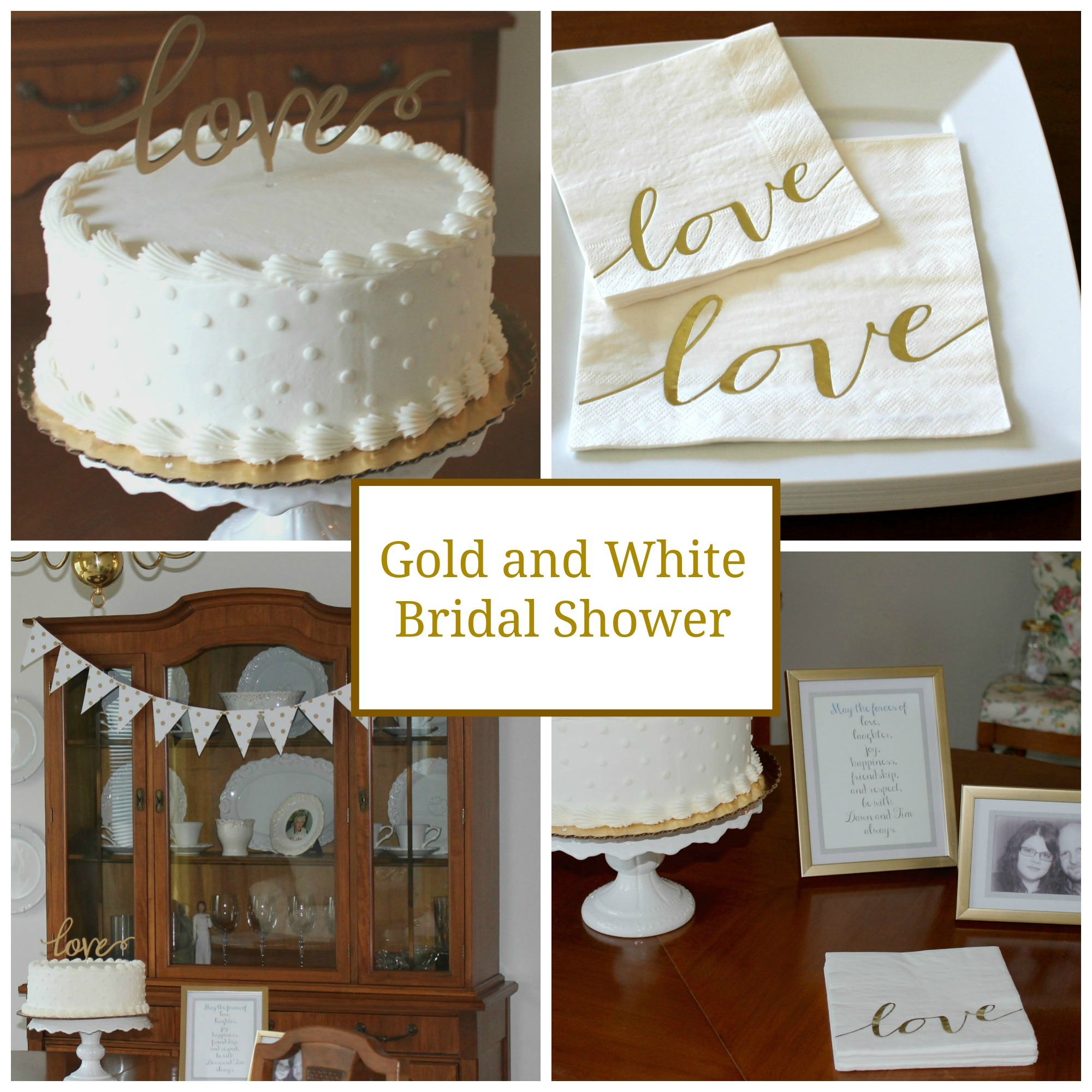 Hosting a bridal shower, gold and white theme.
