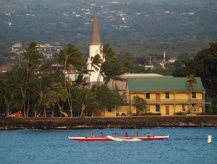 Mokuaikawa Church and Hulihee Palace stand above the seawall, Kailua Kona, Hawaii: Photo by Donnie MacGowan