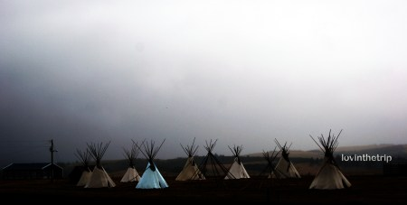 tepees in the fog