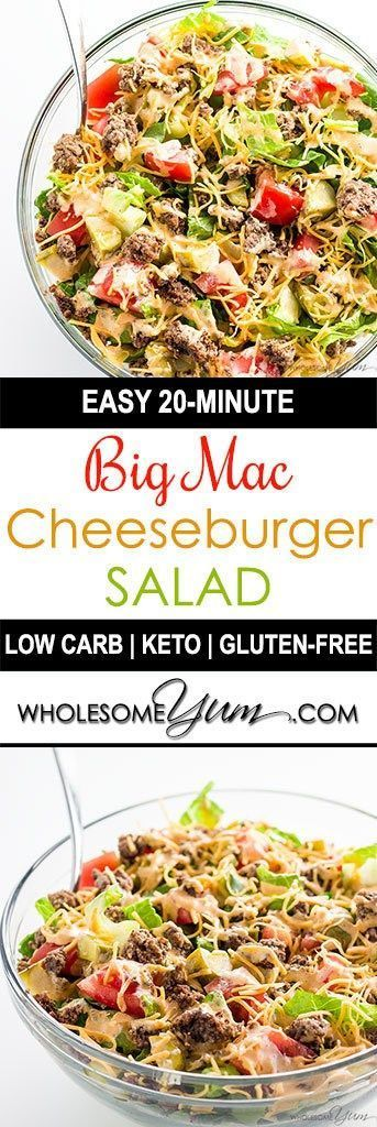 BIG MAC SALAD – CHEESEBURGER SALAD RECIPE (LOW CARB, GLUTEN-FREE)