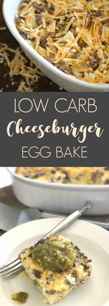 Cheeseburger egg bake. Simple, low carb recipe that is perfect for weeknights.