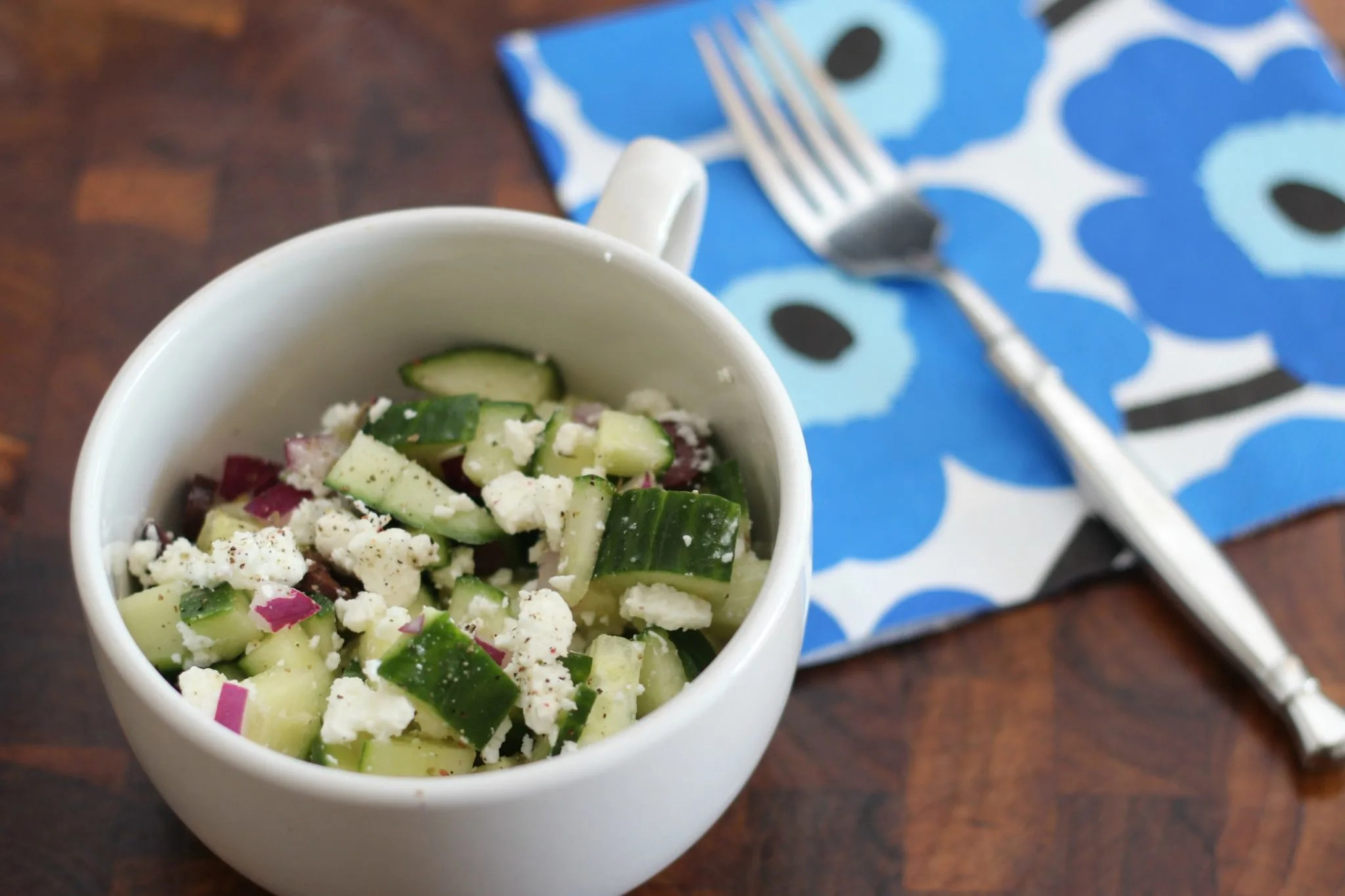 This light and tasty cucumber, olive and feta salad makes for a delicious lunch.