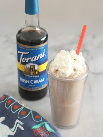 This low carb Irish Cream Coffee Frappé is a flavorful substitute for the sugar laden ones at the coffee shop!