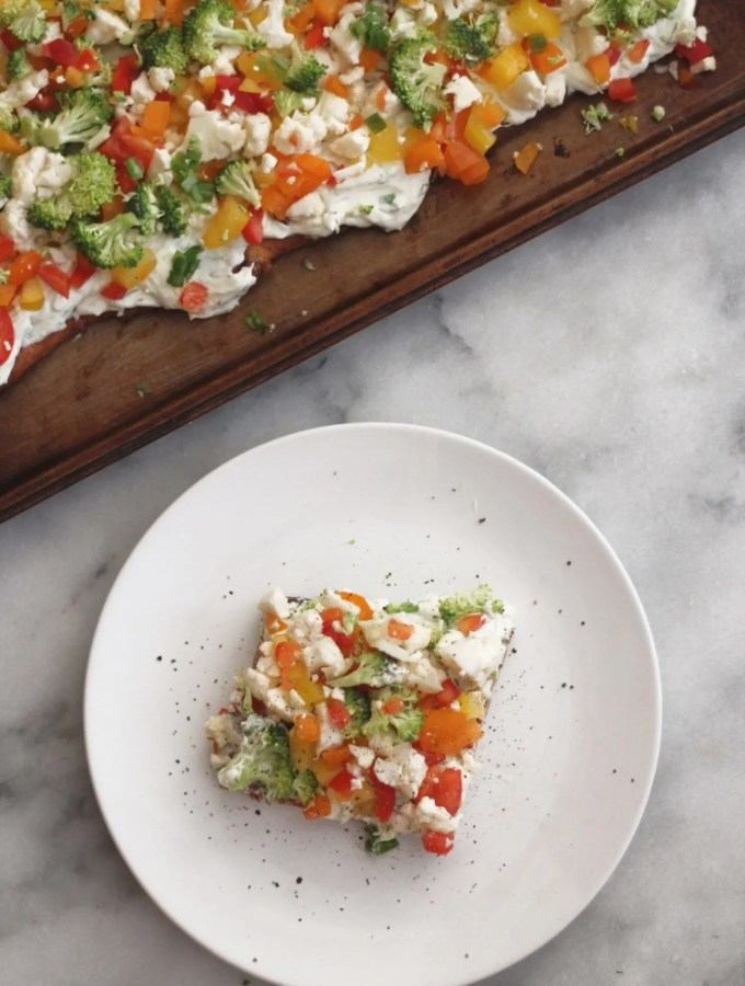 low carb cold veggie ranch pizza