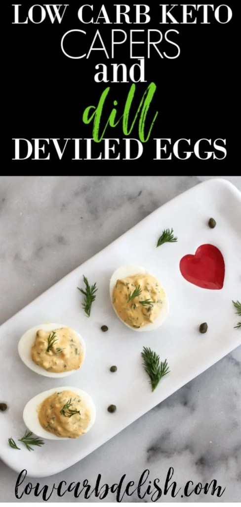 Capers and dill deviled eggs are great way to change up traditional deviled eggs. The flavor is amazing and they are completely keto! #lowcarbdelish #ketoappetizer #ketosnacks #gamedaysnacks #lowcarbsnacks #deviledeggrecipes #ketorecipes #lowcarbrecipes